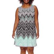 Perceptions Sleeveless Chevron Dress - Plus