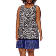 Perceptions Sleeveless Printed Dress - Plus