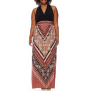 London Style Collection Sleeveless Surplus Maxi Dress - Plus