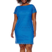 London Style Collection Short-Sleeve Lace Shift Dress - Plus