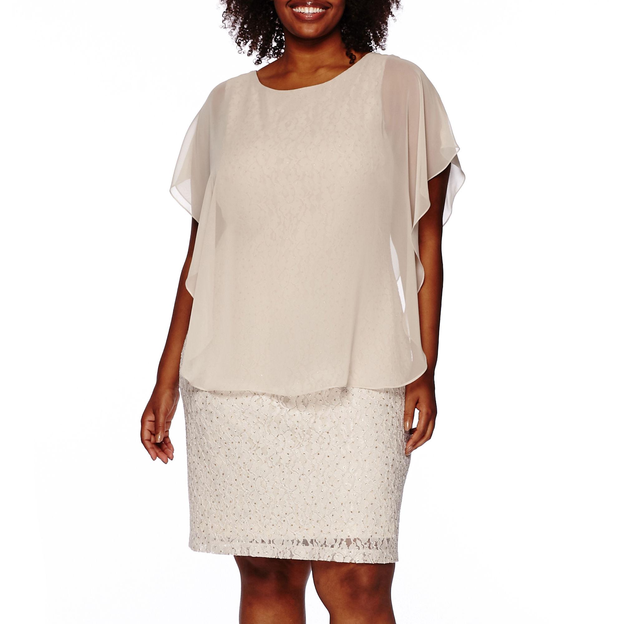 Scarlett Overlay Lace Sheath Dress - Plus
