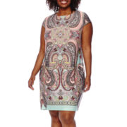 R&K Originals® Cap-Sleeve Paisley-Print Shift Dress - Plus