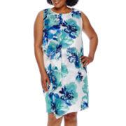 Studio 1® Sleeveless Woven Overlay Sheath Dress - Plus
