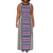 London Style Collection Sleeveless Keyhole Blouson Maxi Dress - Plus
