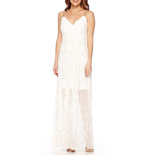 Sangria Sleeveless Chain-Strap Gown