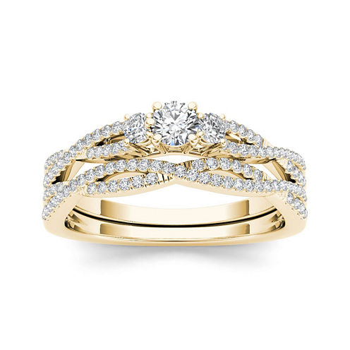 1/2 CT. T.W. Diamond 14K Yellow Gold Crossover Bridal Ring Set