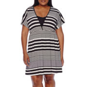 Porto Cruz® Striped Short-Sleeve Kimono Swim Cover-up Dress - Plus