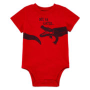 Okie Dokie® Boy Short Sleeve Beautiful Red Graphic Bodysuit Nb-24M