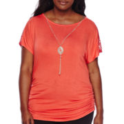 by&by Plus Short-Sleeve Crochet Inset Necklace Top - Juniors Plus