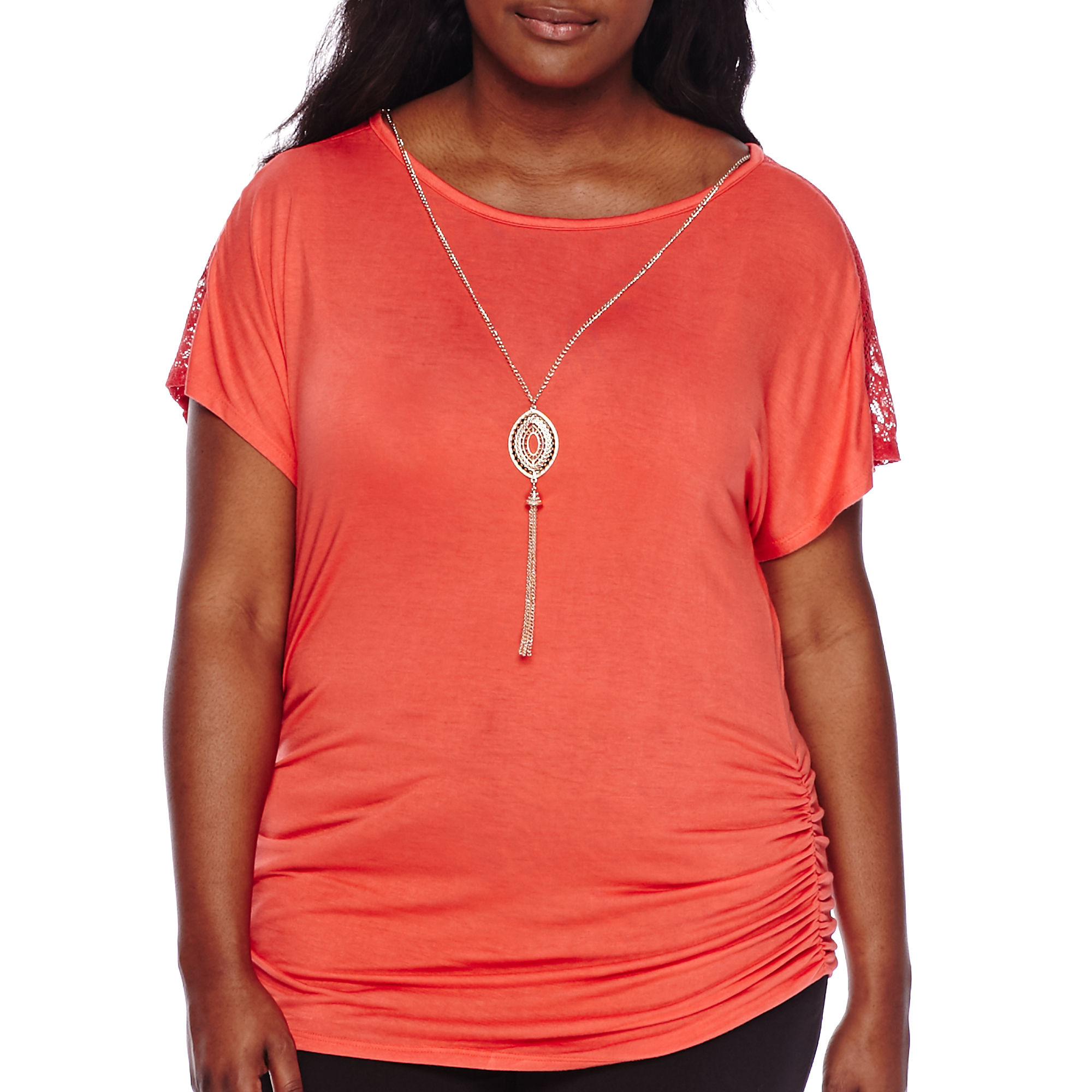 by & by Plus Short-Sleeve Crochet Inset Necklace Top - Juniors Plus