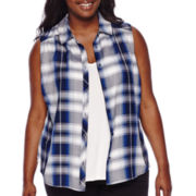 Arizona Sleeveless Americana Plaid Shirt - Juniors Plus