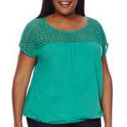St. John's Bay® Lace Banded Top - Plus