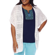 St. John's Bay® Short-Sleeve Crochet Cardigan - Plus