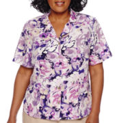 Alfred Dunner® Weskit Short-Sleeve Watercolor Floral Button-Front Shirt - Plus