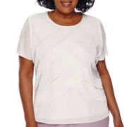 Alfred Dunner® Lavender Fields Short-Sleeve Tiered Accordion Top - Plus