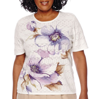 jcpenney.com | Alfred Dunner® Fields Short-Sleeve Pointelle Floral Top - Plus