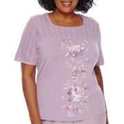 Alfred Dunner® Lavender Fields Short-Sleeve Pointelle Textured Tee - Plus
