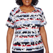 Alfred Dunner® All Aboard Short-Sleeve Graphic Striped Flower Tee - Plus