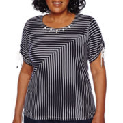 Alfred Dunner® All Aboard Short-Sleeve Spliced Stripe Tee - Plus