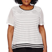 Alfred Dunner® Short-Sleeve Weekend Oasis Stripe Tee - Plus