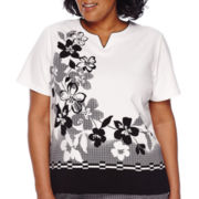 Alfred Dunner® Weekend Oasis Short-Sleeve Border Gingham Flower Tee - Plus