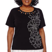 Alfred Dunner® Weekend Oasis Short-Sleeve Embroidered Asymmetric Flower Tee - Plus