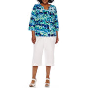 Alfred Dunner® 3/4-Sleeve Tile Printed Tee or Pull-On Cotton Sheeting Capris
