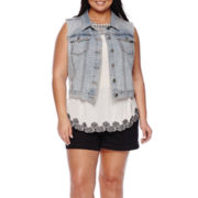 a.n.a® Denim Vest or Embroidered Hem Tank Top or Cargo Shorts - Plus