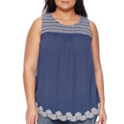 a.n.a® Embroidered Hem Tank Top - Plus