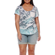 a.n.a® Step-Hem Tee or Cuffed Denim Bermuda Shorts - Plus