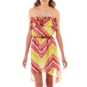 As U Wish® Strapless Belted High-Low Dress