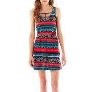 Self Esteem® Sleeveless Lattice-Strap Print Dress