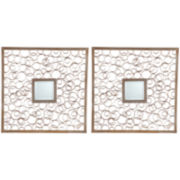 Ansara Set of 2 Square Decorative Wall Mirrors