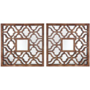 Ambrosio Set of 2 Square Decorative Wall Mirrors