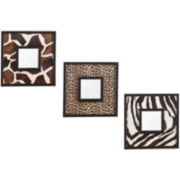 Daintree Animal Print Set of 3 Square Wall Mirrors