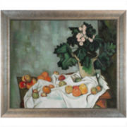 Still Life with Apples and a Pot of Primroses Framed Canvas Wall Art