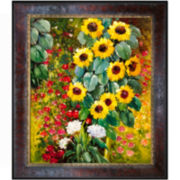 Farm Garden with Sunflowers Framed Canvas Wall Art