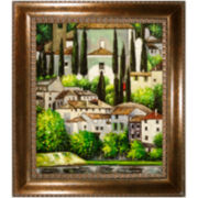 Church in Cassone - Landscape with Cypresses Framed Canvas Wall Art