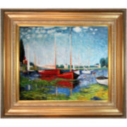 Red Boats at Argenteuil Framed Canvas Wall Art