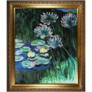 Water Lilies and Agapanthus Framed Canvas Wall Art