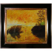 Le Coucher du Soleil La Seine Framed Canvas Wall Art