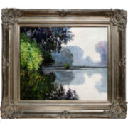 Morning on the Seine near Giverny Framed Canvas Wall Art