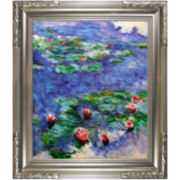 Red Water Lilies Framed Canvas Wall Art