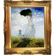 Woman with a Parasol - Madame Monet and Her Son Framed Canvas Wall Art