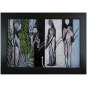 Bathers by a River Framed Canvas Wall Art