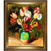 Tulips in a Vase Framed Canvas Wall Art