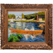 Boating on the Seine Framed Canvas Wall Art