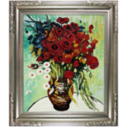 Vase with Daisies and Poppies Framed Canvas Wall Art