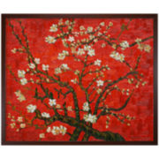 Branches of an Almond Tree in Blossom (Red) Framed Canvas Wall Art