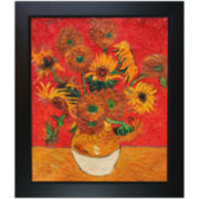 Sunflowers (Artist Interpretation in Red) Framed Canvas Wall Art